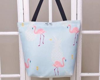 Handmade digital printed beach bag - watercolour pattern print - stylish beach bag FLAMINGO