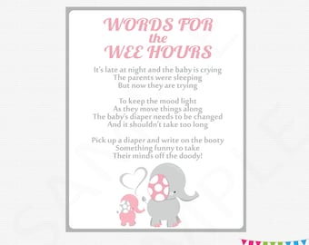 Pink and Gray Elephant Baby Shower Games, Late Night Diapers, Words for the Wee Hours, Girl Baby Shower Diaper Game Sign Printable EL0005-lp