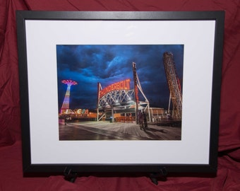 Coney Island Thunderstorm-Framed Photo