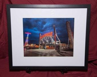 Coney Island Thunderstorm-Framed Photo