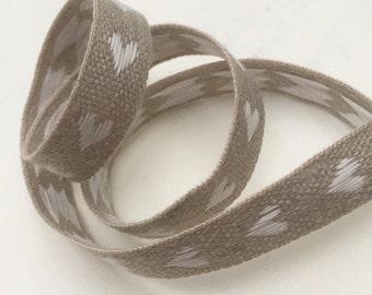 White Woven Hearts Linen Ribbon - 3m reel