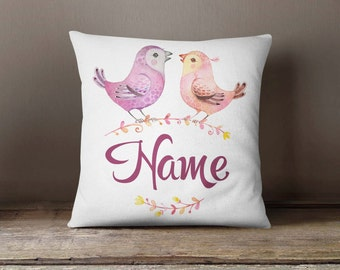 Personalized Pillowcase Birds Family | Decorative Throw Pillow Cover | Cushion Case | Designer Pillow | Birthday Gift Idea For Him & Her