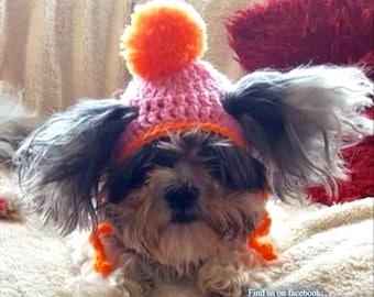 Crochet Bobble dog hats