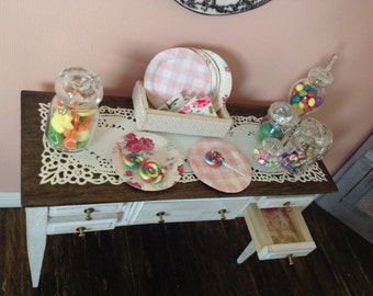 Miniature 1:12 scale Shabby Chic Sideboard or buffet,distressed off white,fully set up with candy buffet
