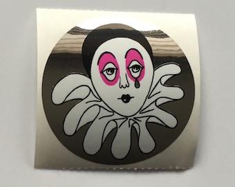 Vintage Rare Sandylion Mylar Pierrot Clown Sticker