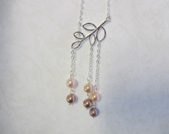 Shell Pearl Pendant Necklace in shades of copper,bronze and peach on SP chain. Pretty diamante magnetic clasp. Ideal wedding Jewellery