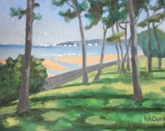 Seascape Swansea Bay towards Mumbles, original oil painting