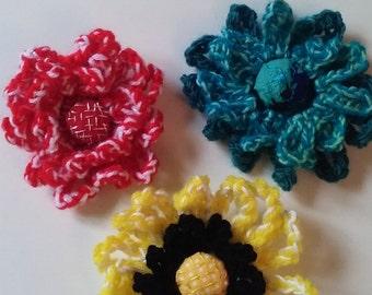 flower brooch, crocheted flower brooch, embroidered flower centre, costume flower brooch