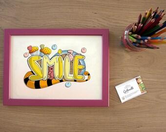 Illustration Smile, poster print, decoration, children