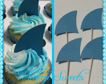 1 dozen Shark Fin Cupcake toppers