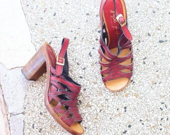 Vintage leather strappy sandals pumps size EU 39,5