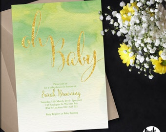 Printable Baby Shower Invitation | Baby Shower Invite | DIY Printable | Oh Baby Glitter invite