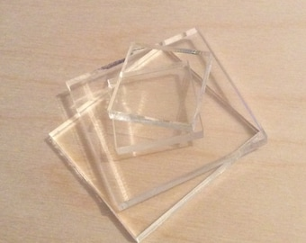 Acrylic stamp block set  - set of five stamp blocks - stamp mounting block - clear acrylic blocks - stamp mounts - clear mounts -