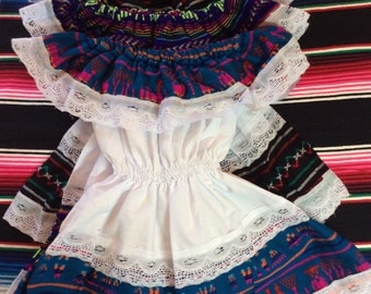 Little girl off shoulder traditional Mexican dress, size 2-3t. Various colors