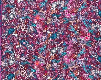 Amelia Caruso Effervescence Boysenberry - robert kaufman, quilting, cotton, bubbles, circles, purple, magenta, pink, bubbly, border, fabric