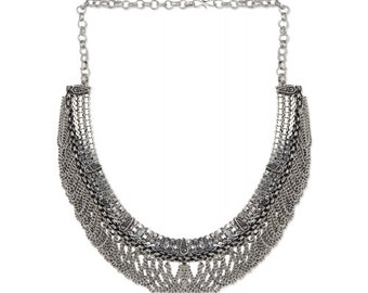 Silver Tribal Necklace/Chain Links/Statement Necklace/Oxidized Silver