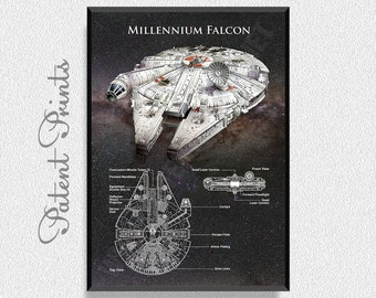 Star Wars Millennium Falcon Poster, Star Wars Ship, Star Wars Poster, Millenium Falcon Blueprint, Millenium Falcon Poster, Millennium Falcon