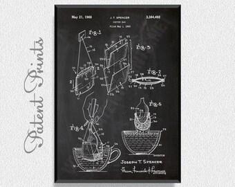 Coffee Bag 1968 Patent Print, Kitchen Wall Decor, Coffee Shop Decor, Restaurant Decor, Dining Room Wall Decor, Coffee Wall Decor