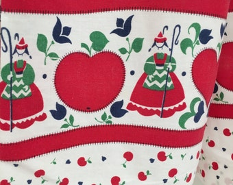 Vintage Cotton Country Kitchen Apron With Cherries