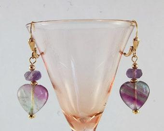 Fluorite, Amethyst, Gemstone earrings, Gemstone jewelry, Semiprecious stone jewelry, Dangle earrings, Natural stones