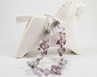Amethyst nuggets necklace, Gemstone necklace, Gemstone jewelry, Semiprecious stone necklace, Thai silver beads,
