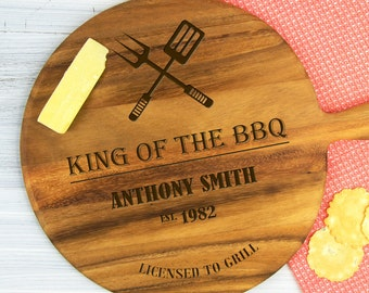 Personalised King of the BBQ Cheeseboard - Engraved Christmas Birthday Gift