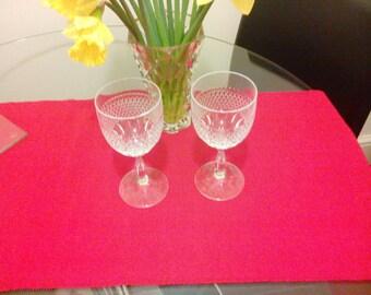 Crystal cut glass wine goblets