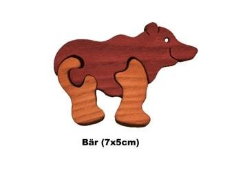 Mini Puzzle Bear / Handmade / Animals / Wooden toys / Forest / Waldorf / Montessori