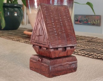 "Vintage, hand carved, wood ""MARRIAGE HOUSE"" from the South Pacific Islands of  Micronesia."