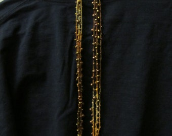 Crocheted necklace with beads Golden browns copper bronze