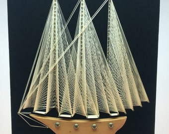 Vintage string art - sailboat