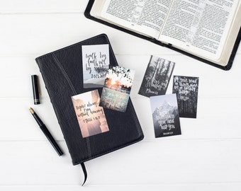 Walk By Faith Mini Scripture Cards (Pack of Six) - Christian Bible Verse - Hand Lettered - Christian Gifts - Eco Friendly