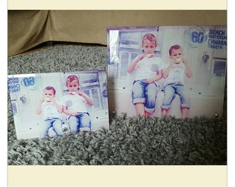 Free standing glass photo frames