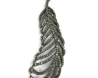 Pave Diamond Feather ,Pave Diamond Leaf Pendant , Diamond leaf Pendant