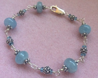 Aquamarine, London Blue Topaz, and Sterling Silver Wire Wrapped Bracelet