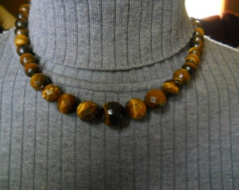 Vintage Tiger Eye Stone Necklace 925 #367