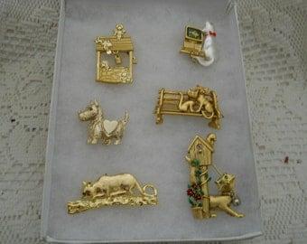 Vintage Jewelry Lot Cat Pins Danecraft #550