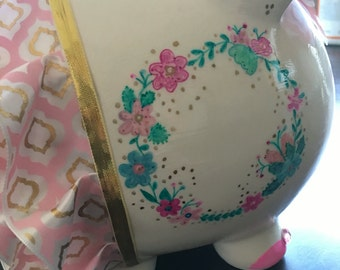 Custom Ceramic Piggy Bank- Pretty in Patterns