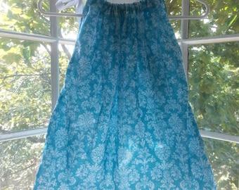 Girls Bandana Dress/ Tank Top (blue/white/grey pattern w/ white ribbon)
