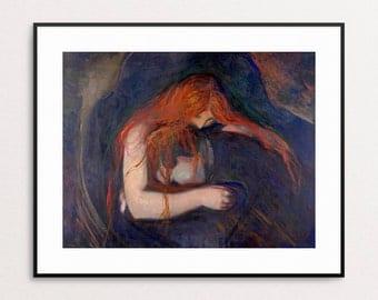 Vampire - Edvard Munch 1895 - Vampire Print - Redhead - Wall Art - Creepy - Home Decor - Vampire Painting - Wall Decor - Strange Art