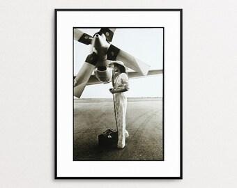 Bianca Jagger on Tour 1972 - Annie Leibovitz - Original Vintage Book Print - Portrait -  Airplane - Aviation Print - Fashion - Propeller