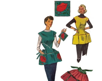 Simplicity 4492, 60s Sewing Pattern, Size L Women's Cobbler Apron, Half Apron Pattern, Pot Holder Pattern, Vintage Apron Patch Pockets