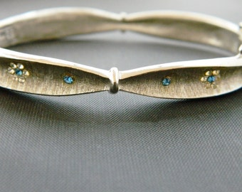 "Vintage 60s BSK Rhinestone Flower Bangle Bracelet Mid Century Costume Estate Jewelry Prom Bridal 6.5"""