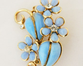 Vintage 60s Blue Flower Pin Brooch Lucite Clear Rhinestones Estate Costume Jewelry