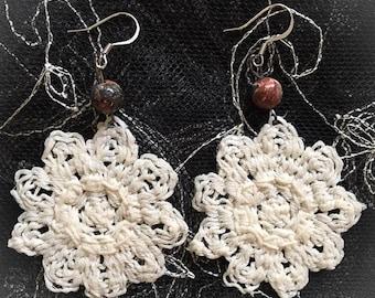 Crochet Flower Lace Earrings ~Earth Tone Bead~