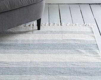 Grey Gray Stripe Rug / Handwoven Cotton / The Ava