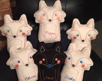 Hand Embroidered Fox Cushion