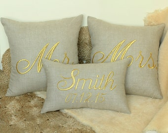 Mr And Mrs Smith Dated Embroidered Pillow Cover for Anniversary, Wedding, Engagement, Love Gift-Personalized Couple Pillow Cover