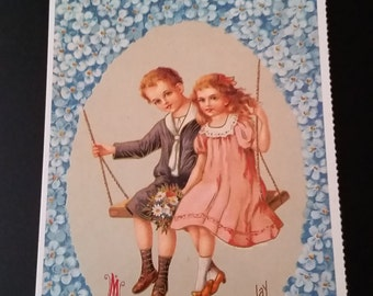 Vintage Boy and Girl on Swing Postcard
