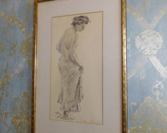 """Signed Ben Solowey (PA 1900-1978) Original Conte Crayon Drawing Of Lady """"Curtsy"""""""
